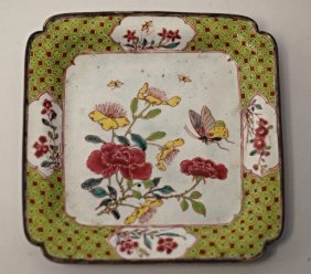 An Chinese Square Enamel Dish, Qing Dynasty