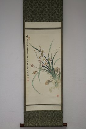 Chinese Scroll Painting Of Orchid