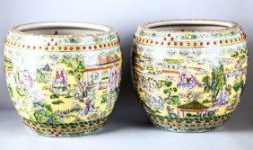 Pair Of Chinese Polychromed Porcelain Jardinieres