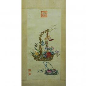 A Chinese Scroll Painting , By Empress Dowager Cixi