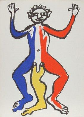 Alexander Calder, Acrobat (Blue, Yellow, Red), Lith