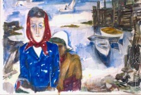Maurice Becker, Two Women At Harbor, Watercolor