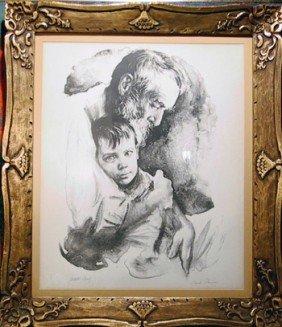 Sandu Liberman, Father And Son, Lithograph