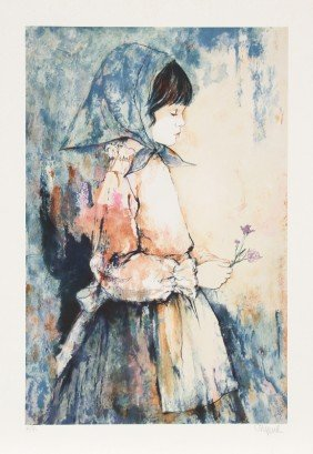 Richard Shepard, Girl Holding Flowers, Lithograph