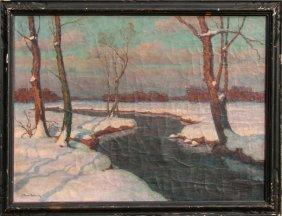 Jean-Jacques Berne-Bellecour, Snowy Landscape, Oil