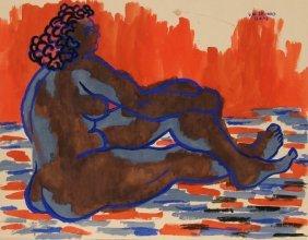 Laurent Marcel Salinas, Nude 1, Gouache Painting