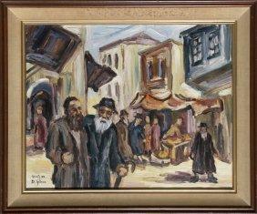 David Gilboa, Safed Street, Israel, Oil Painting