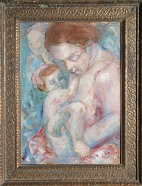 Domingo Garcia, Mother And Child, Oil Painting