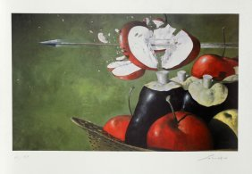 Julio Larraz, William Tell's Apple, Lithograph