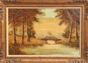 Freund, Stream Bridge, Oil Painting