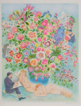 Ira Moskowitz, Floral Scene With Artist And Nude, L