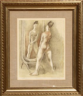 Isaac Soyer, Dancer In The Mirror, Lithograph