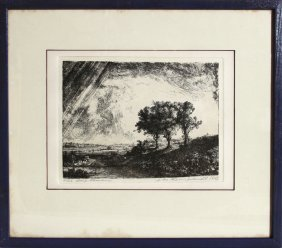 Rembrandt Van Rijn, Three Trees, Etching