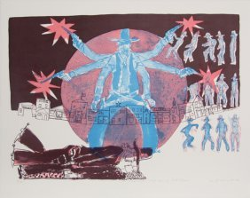 Warrington Colescott, A Wild West: High Noon For Hoot