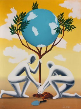 Mark Kostabi, Give Leaves A Chance, Serigraph