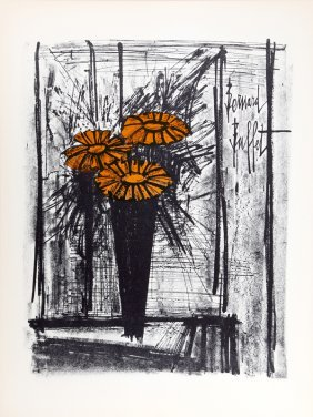 Bernard Buffet, Flowers, Lithograph