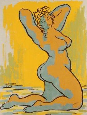 Laurent Marcel Salinas, Nude 48, Gouache Painting