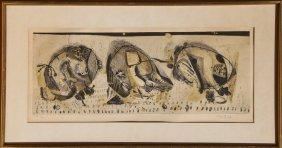 Jose Ortega, Three Men Picking, Aquatint Etching