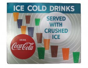 "Coca-cola ""ice Cold Drinks"" Vending Machine Front Sign"