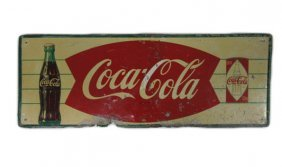 Coca Cola Advertising Sign With Diamond Coke Can