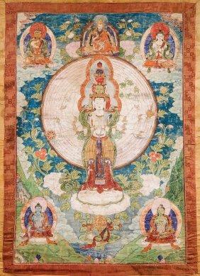Thangka Raffigurante Avalokiteshvara, Sino-tibet,