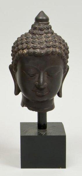 A Thai Bronze Buddha Head Fragment