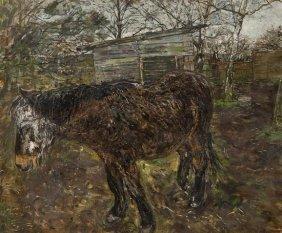 Olwyn Bowey RA (b.1936) Old Horse Dosing