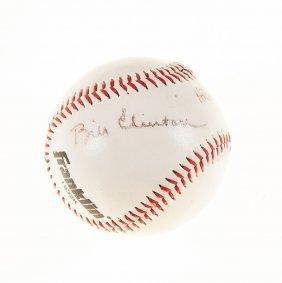 Clinton, Bill And Hillary - Baseball Signed By Bill