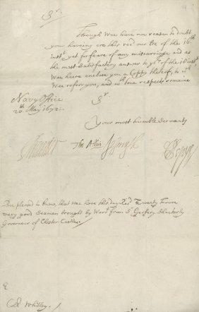 Pepys, Samuel - Letter Signed , To Colonel Robert