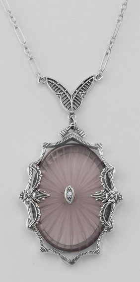 Amethyst Sunray Crystal & Diamond Necklace - Sterling S