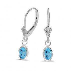 14k White Gold 1.00 Ctw Blue Topaz Earrings