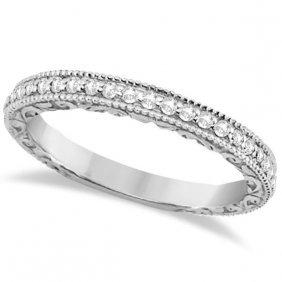 Milgrain And Filigree Diamond Wedding Band 14kt White G