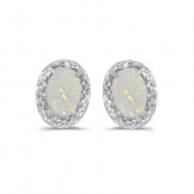 14k White Gold .54 Ctw Opal/diamond Earrings