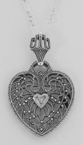Classic Filigree Heart Pendant W/ Diamond And Chain - S