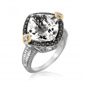 18k Yellow Gold And Sterling Silver Crystal Quartz Diam