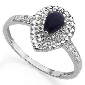 0.61 Ctw Genuine Black Sapphire & Genuine Diamond Plati
