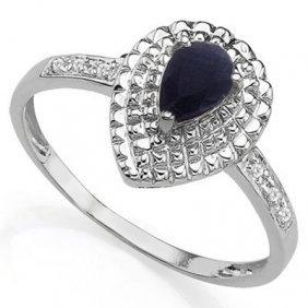 0.61 Ctw Genuine Black Sapphire & Genuine Diamond Plati