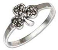 Sterling Silver Marcasite Irish Shamrock Ring