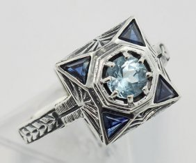 Blue Topaz Filigree Ring W/ Sapphire - Sterling Silver