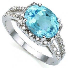 2.17 Ct Blue Topaz & White Diamond .925 Sterling Silver