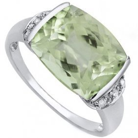 4.49 Ct Green Amethyst & White Diamond .925 Sterling Si