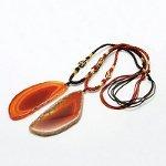 Adjustable Dyed Orange Agate Pendant On Chord Necklace