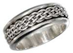 Sterling Silver Mens Antiqued Worry Ring With Woven Spi