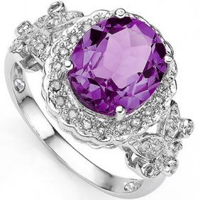 3.155 Ctw Amethyst & Genuine Diamond Platinum Plated .9