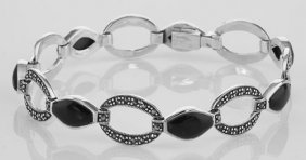 Antique Black Onyx And Marcasite Bracelet - Sterling Si