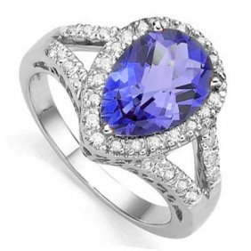 3.062 Ctw Lab Tanzanite & Genuine Diamond Platinum Plat