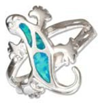 Sterling Silver Synthetic Blue Opal Gecko Ring