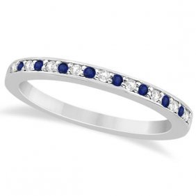 Cathedral Blue Sapphire And Diamond Wedding Band 14k Wh