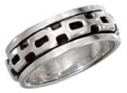 Sterling Silver Mens Worry Ring With Square Link Spinni