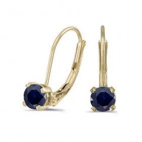 14k Yellow Gold .66 Ctw Sapphire Earrings